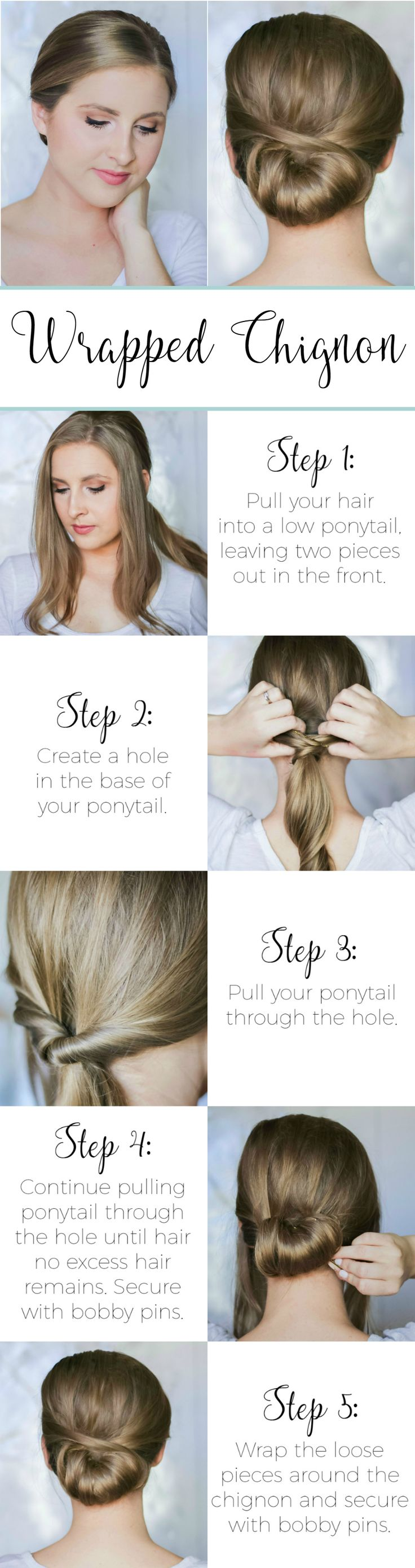 This elegant wrapped chignon is the perfect second-day hairstyle idea! Click through to see the easy step-by-step tutorial!