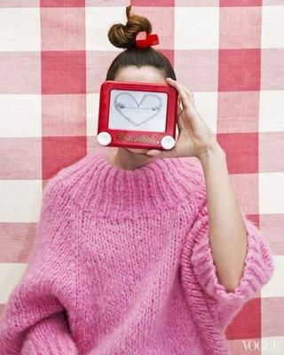 A supersize pullover in mohair and cashmere; a teeny, tiny Etch-A-Sketch in durable plastic