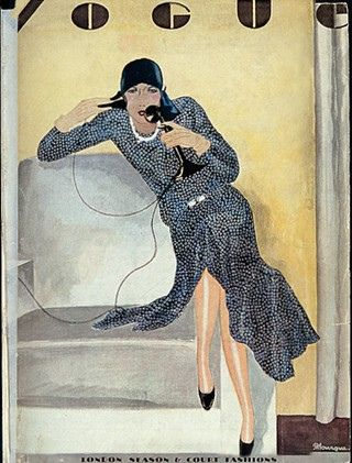 Illustrated Vogue cover.  Lady sitting on chair arm, on telephone. (April 1929)