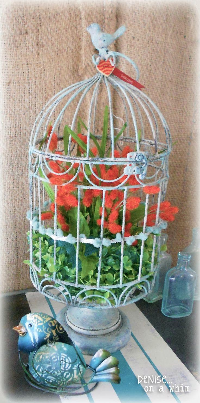 Orange and Turquoise Birdcage via http://deniseonawhim.blogspot.com #MPinterstParty
