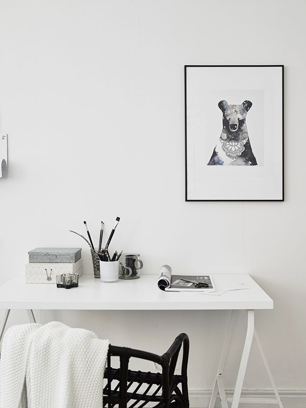 monochrome home office simplistic minimalist must love bears