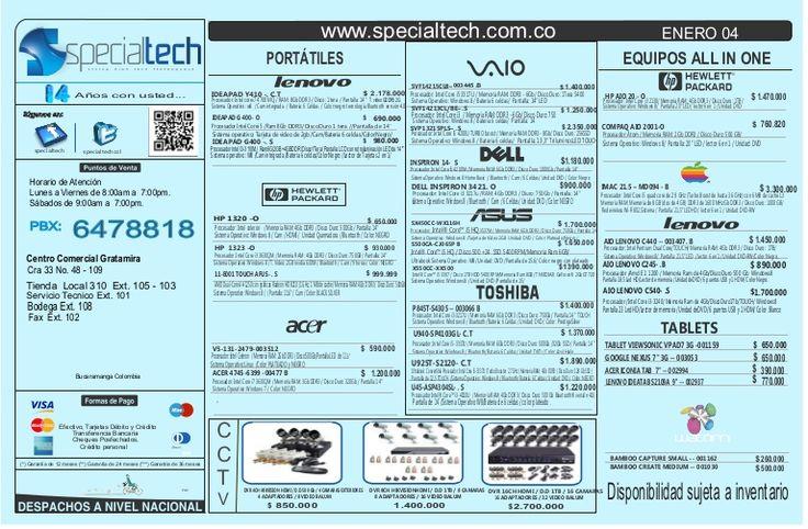 Lista de precios specialtech  04 de enero de 2014  by Specialtech Octavio Gonzalez via slideshare