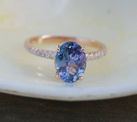 Tanzanite Ring. Rose Gold Engagement Ring 2.16ct by EidelPrecious