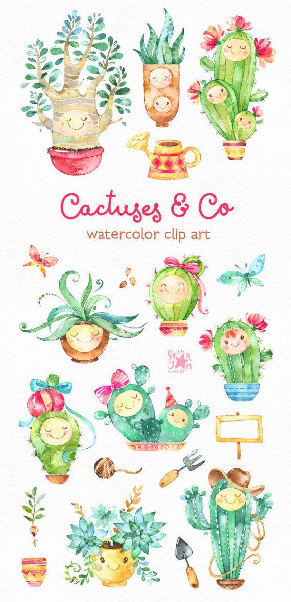 Cactus & Co. lindo Floral acuarela Prediseñadas suculentas