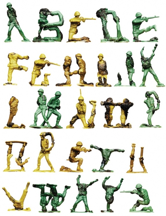 Typeface of melted toy soldiers by Oliver MundaySoldiers, Olive Munday, Army Letters, Graphics Design, Alphabet, Typography, Boys Room, Army Men, Man Toys