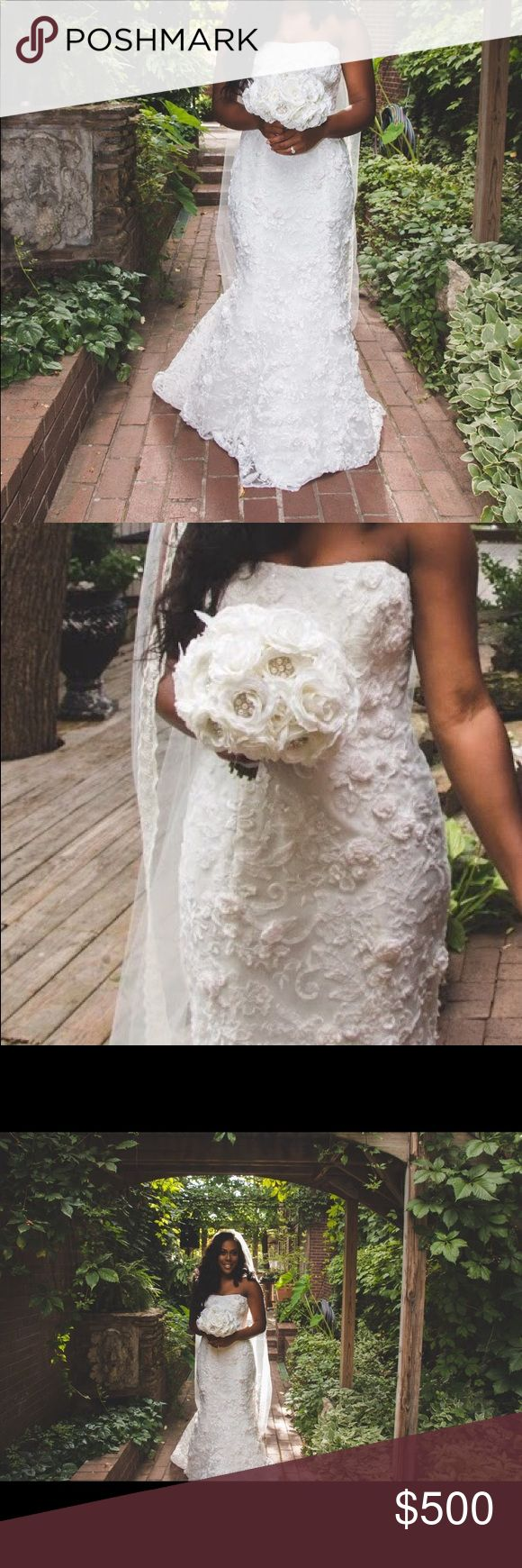 Oleg Cassini Wedding Gown Trumpet Gown with 3D Flowers  Size 10 Ivory Oleg Cassini Dresses Wedding