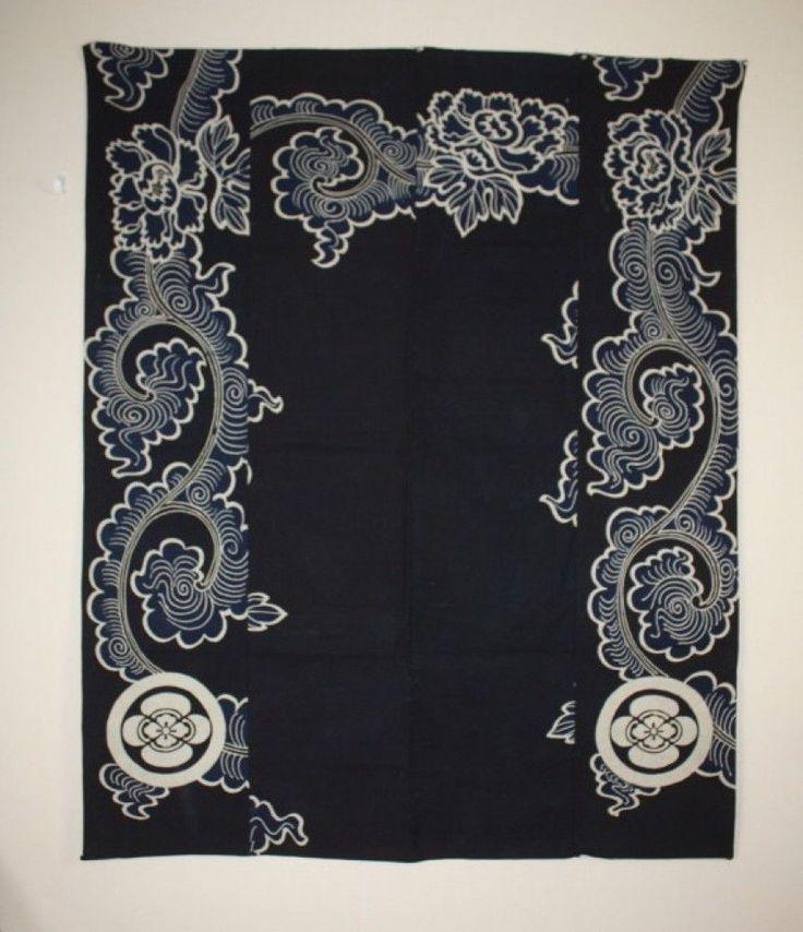 Japanese Antique Thick Indigo Dye Cotton Tsutsugaki Futon Cover Tang Gr