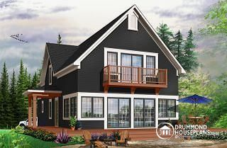Evergreene Scandinavian style country cottage plan, master on main, open floor plan, panoramic view, large kitchen - W3510