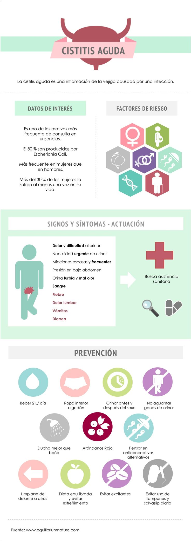 Cistitis infografía. Salud y prevención.