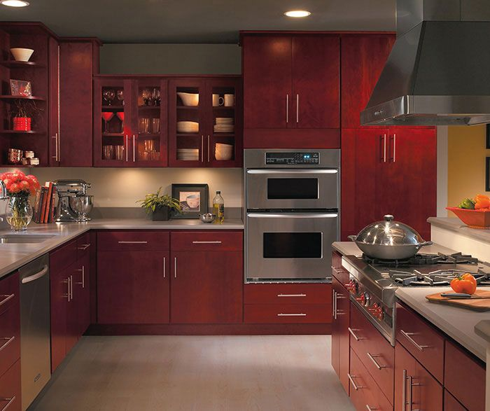 Burgundy kitchen cabinets by homecrest cabinetry paint for Burgundy kitchen cabinets pictures