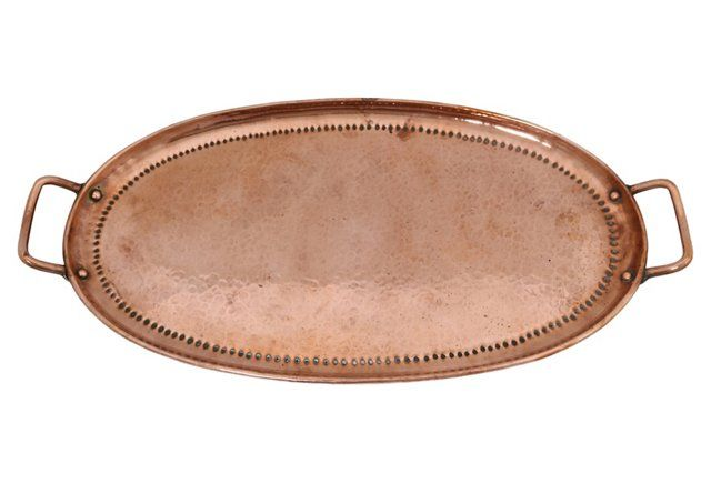 English Handled-Hammered Copper Tray