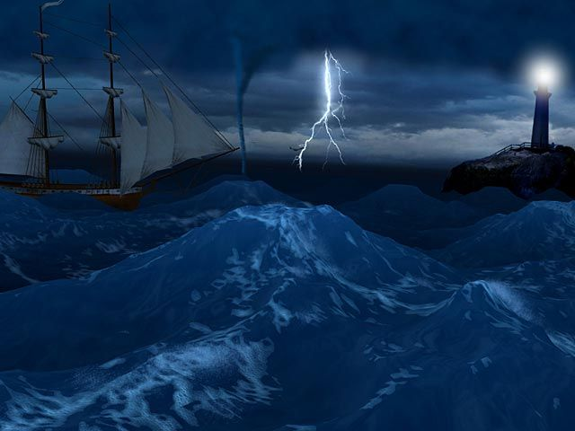 Free Moving Screensavers | Animated lightning, twisters and crashing waves Ship sailing in the ...