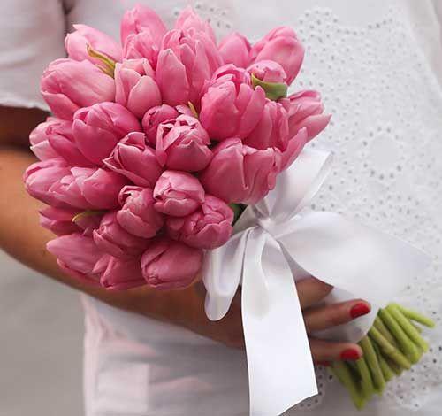 Pink Tulips Wedding Bouquet
