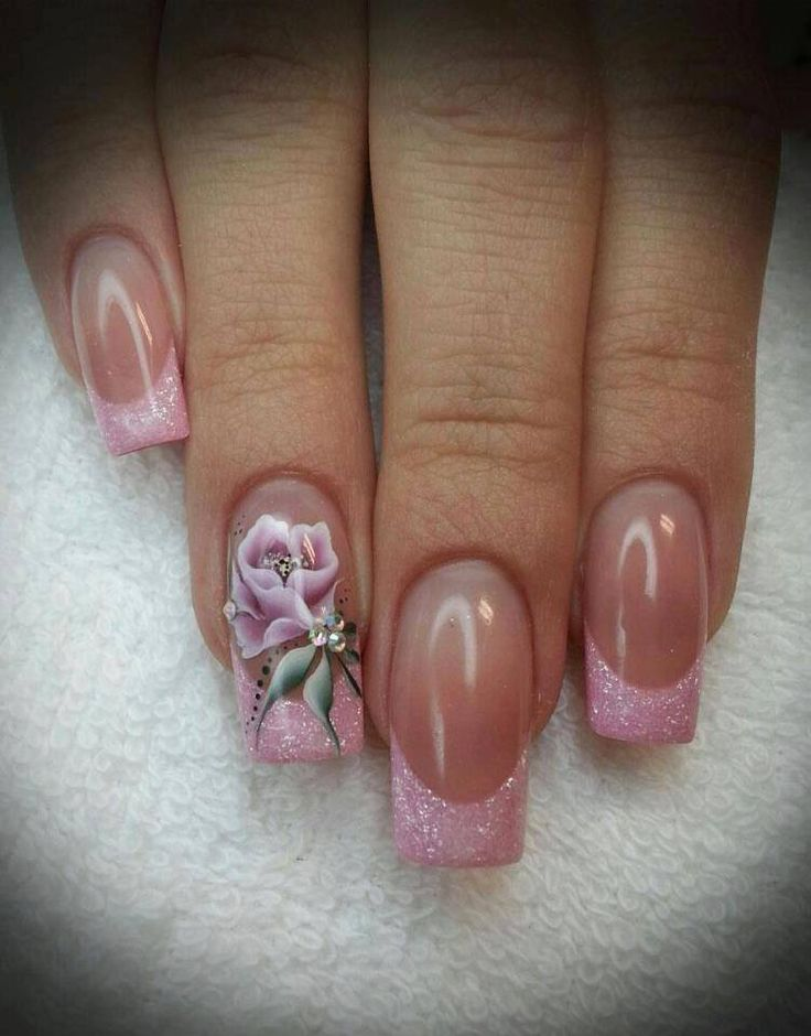 Baby pink french tipped square long nails with a gorgeous pink rose design on the standout nail #nailart...x