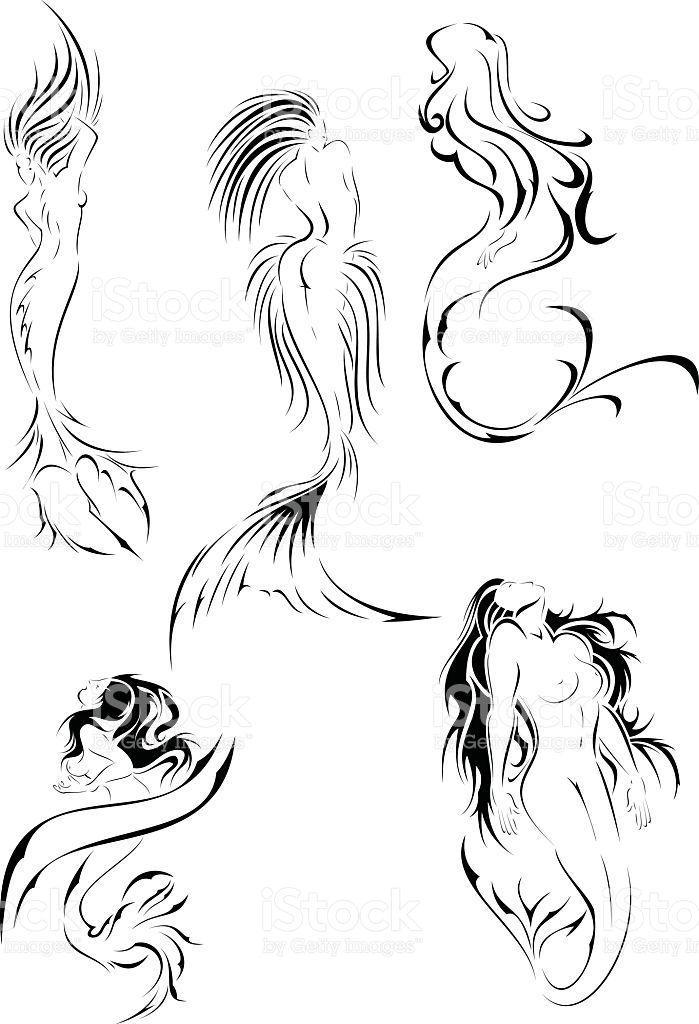 Set con tatuaggio sirena royalty-free stock vector art
