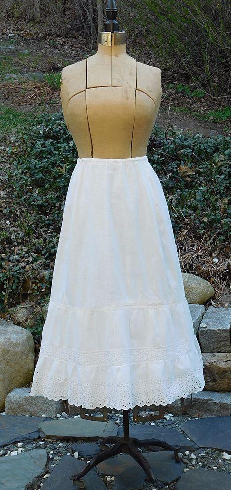 Antique EDWARDIAN COTTON Eyelet Lace Tiered Ruffled PETTICOAT Slip Skirt  | eBay