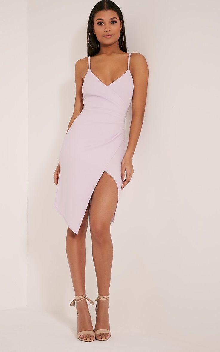 Lauriell Mauve Wrap Front Crepe Midi Dress Dresses