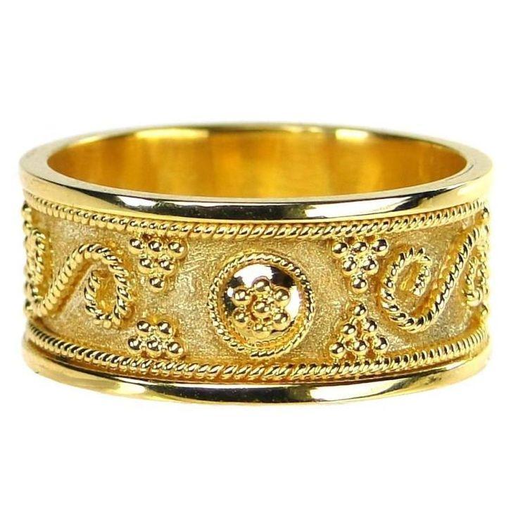 Damaskos Billias Band Gold Ring, 18k Gold. This and more handmade Greek jewelry at Athena's Treasures: www.athenas-treasures.com