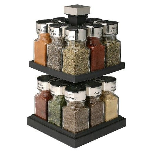 Keep your spices where you can see them while you cook with this rotating rack. The unit includes 16 spices, each in a jar with a flip-top lid that makes it easy to use. The black-and-silver rack is will look great in a contemporary kitchen.