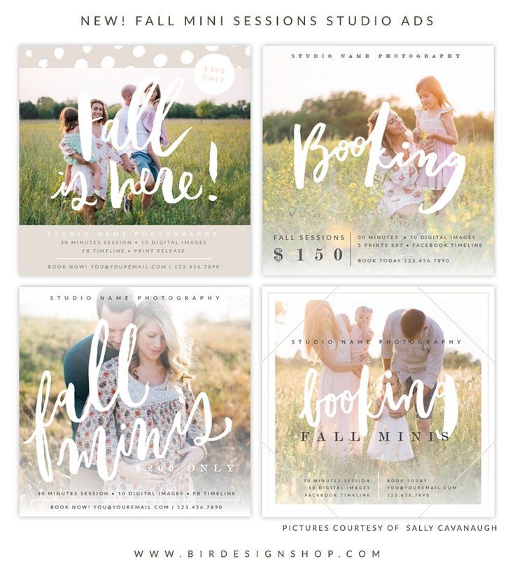 Fall mini sessions ads - photoshop templates for photographers