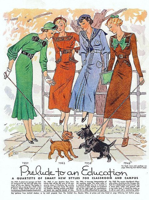 1930's Fashion - Classroom and Campus Fashions ~ McCall's Magazine, September 1934 vintage dresses