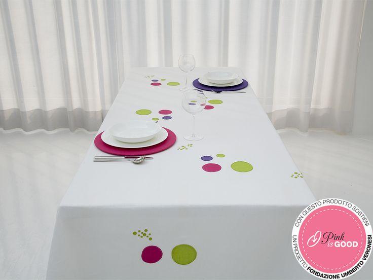 #Tovaglia bolle rosa e chartreuse 170x270cm. Per maggiori info contatta #Centrotavola Milano: vai sul nostro shop all'indirizzo http://shop.centrotavolamilano.it/ oppure contattaci al n° 02866641.