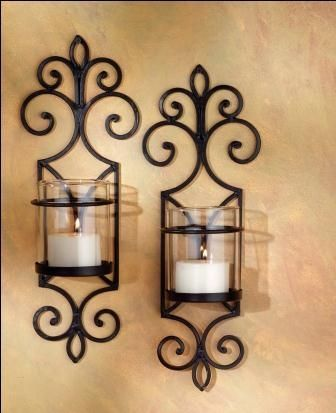 Tuscan Iron And Glass Hurricane Wall Candle Sconce Set 2