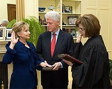 On January 21, 2009, Hillary Clinton was confirmed in the full Senate by a vote of 94–2.[285] Clinton took the oath of office of Secretary of State ...