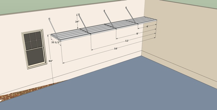 """This is a drawing of a DIYGarageShelf.com """"open end left"""" shelving kit.: Drawing"""