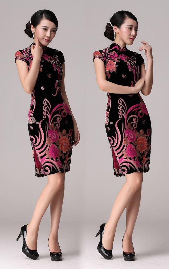 Red/Black floral pattern silk velvet short cheongsam Chinese qipao dress