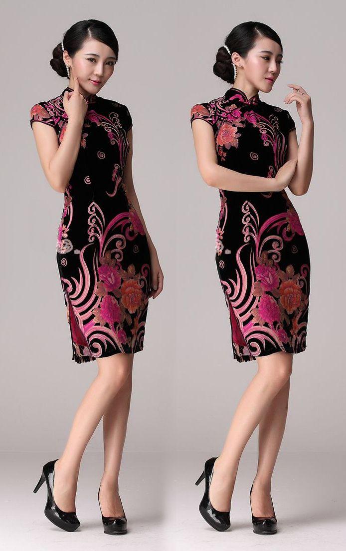 Red/Black floral pattern silk velvet short cheongsam Chinese qipao dress