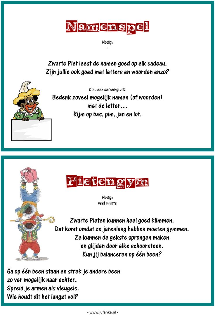 Feest: spelletjesmiddag Sinterklaas 4/9