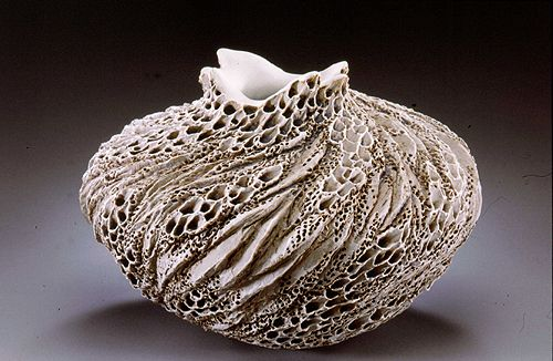 """Coastal Rock Vase, """"""""Nature is so perfect. It's just all there -- the formations, the caves, the stones. What I attempt to express is my love and reverence for the beauty of this earth. Clay is my language."""" -- Anne"""