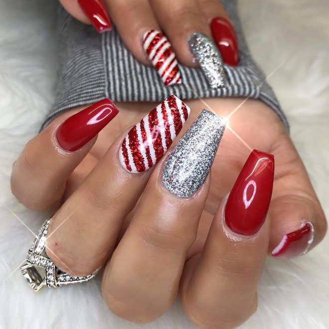 Cute Red, Glitter Candy Cane, Silver Glitter Holiday