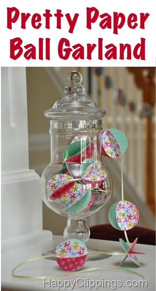 How to Make Pretty Paper Ball Garland! #crafts