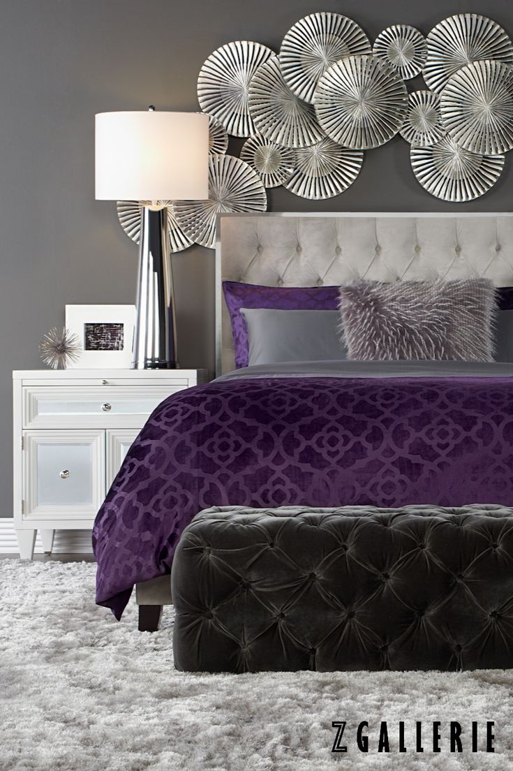 Bedroom Decorating Ideas For Purple Grey