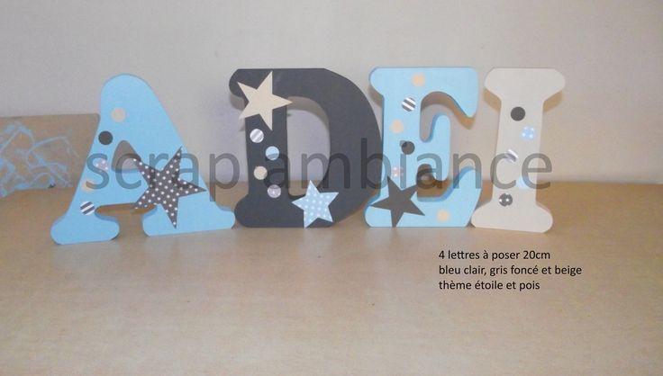 lettre en bois, prénom à poser, lettre à poser personnalisé ETOILE et POIS 20cm : Chambre d'enfant, de bébé par decoration-chambre-d-enfant-le-scrap-de-sandra