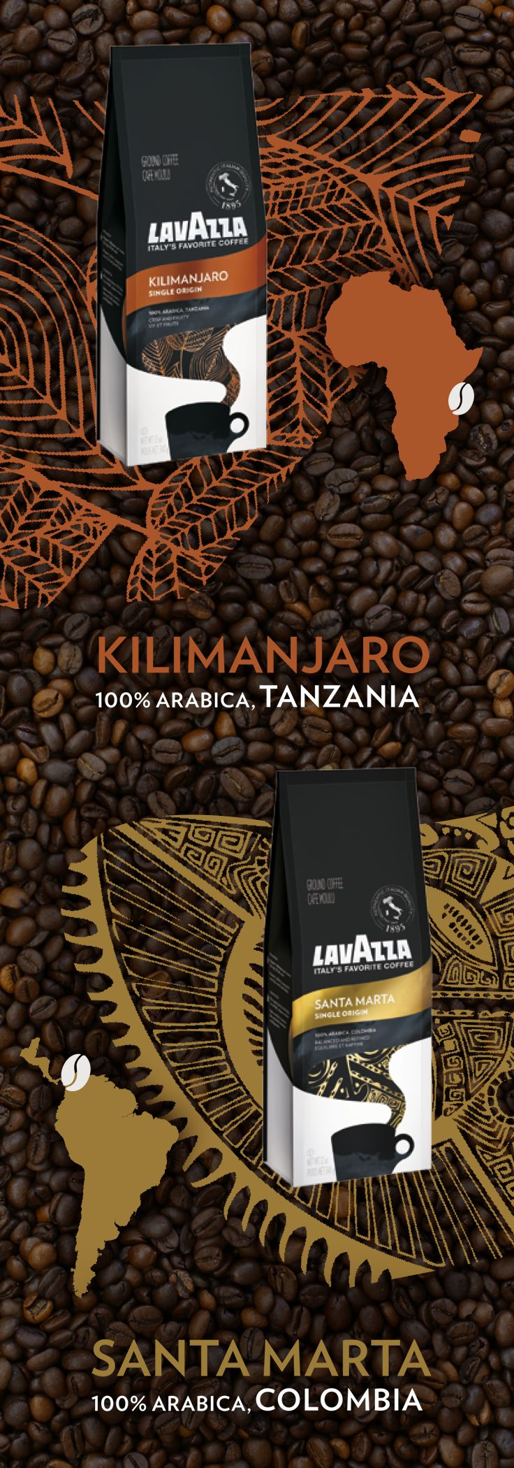 Crafted from 100% Arabica beans, Lavazza's new single origin coffees capture the unique flavors of the Santa Marta and Kilimanjaro regions.