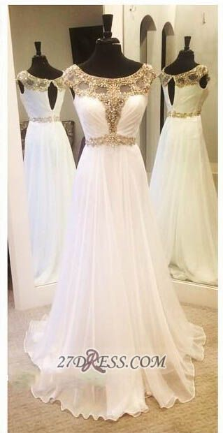 Glamorous A-line Jewel Chiffon Prom Dress Floor-length Cap Sleeve Beadings Evening Gown
