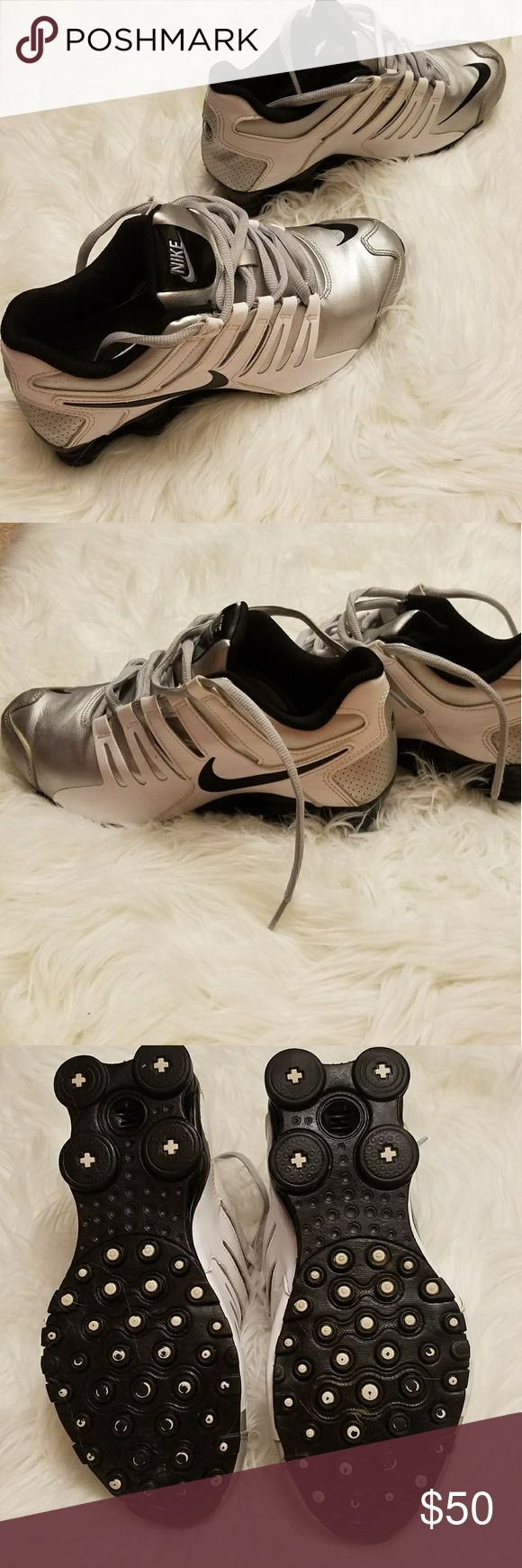 Nike shocks Worn a handful of times. Realized these aren't my style. They're a size 8. Silver black and grey. Feel free to make an offer ! Nike Shoes Athletic Shoes