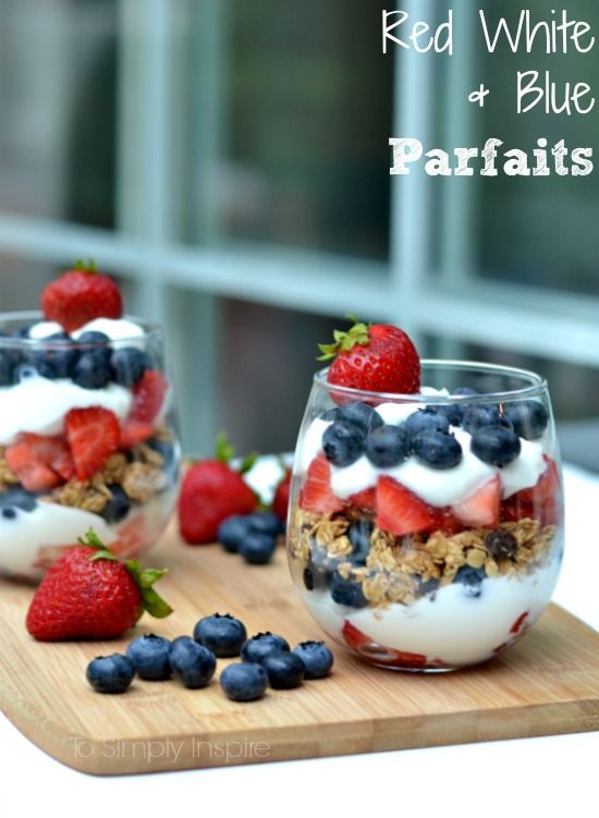 These Red, White, and Blue Parfaits make the perfect patriotic treat. Simply layer fresh strawberries, fat free yogurt and fresh blueberries with a little granola in the center for an easy and healthy dessert without the guilt.    I am in party planing mode for some fun 4th of July festivities this weekend. I love making these Red White and Blue Parfaits not only because they are so stinking eas...