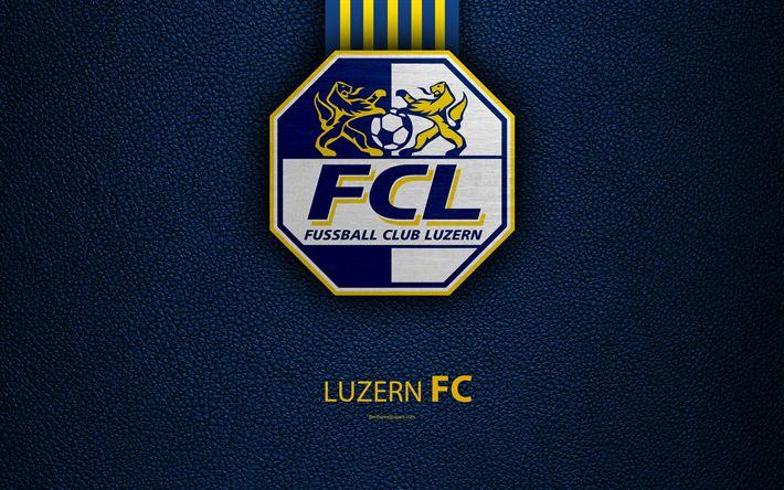 Download wallpapers Luzern FC, 4k, football club, leather texture, logo, emblem, Swiss Super League, Lucerne, Switzerland, football