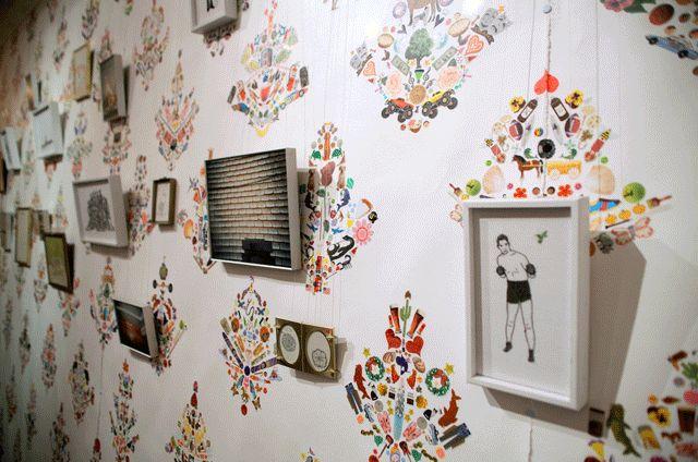 repurposed sticker wallpaper- can move around when you get bored