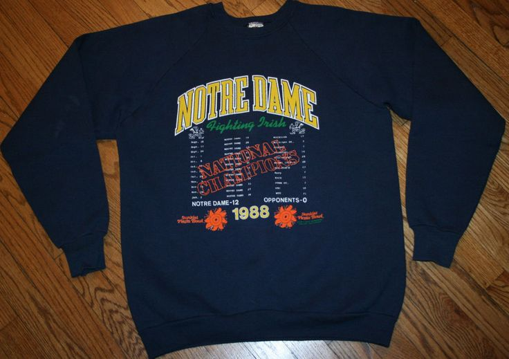 Vintage NOTRE DAME FOOTBALL 1988 NATIONAL CHAMPIONS Sweatshirt-XL with scores #fruitoftheloom #NotreDame