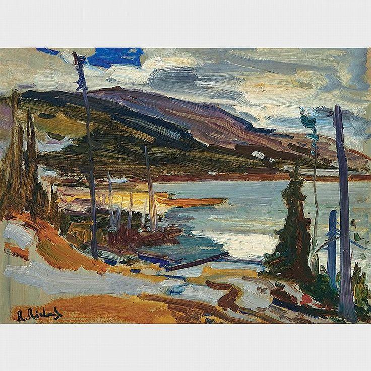 Rene Richard - Dans Les Laurentides Lac Pres De Baie St. Paul 18 x 24 Oil on masonite