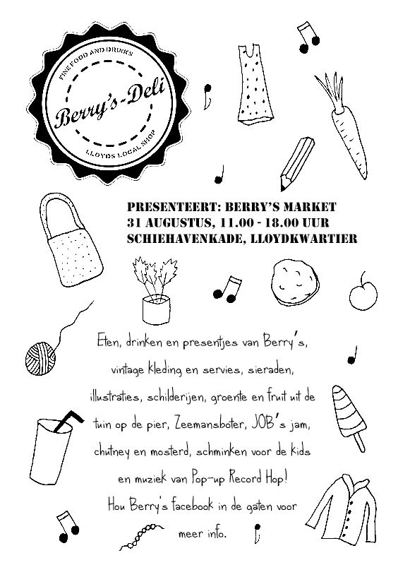 Illustrated flyer for Berry's Market made by www.rrrauw.nl