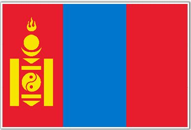 The flag of Mongolia has three vertical stripes of red, blue, and red. Along the red stripe on the hoist side is the soyombo national symbol in yellow.