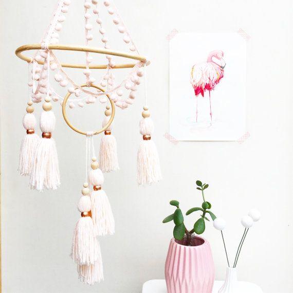 Pink cot mobile, boho nursery, new baby gift, baby mobile, nursery decor, chandelier mobile, tassel mobile, crib mobile, pompom decor