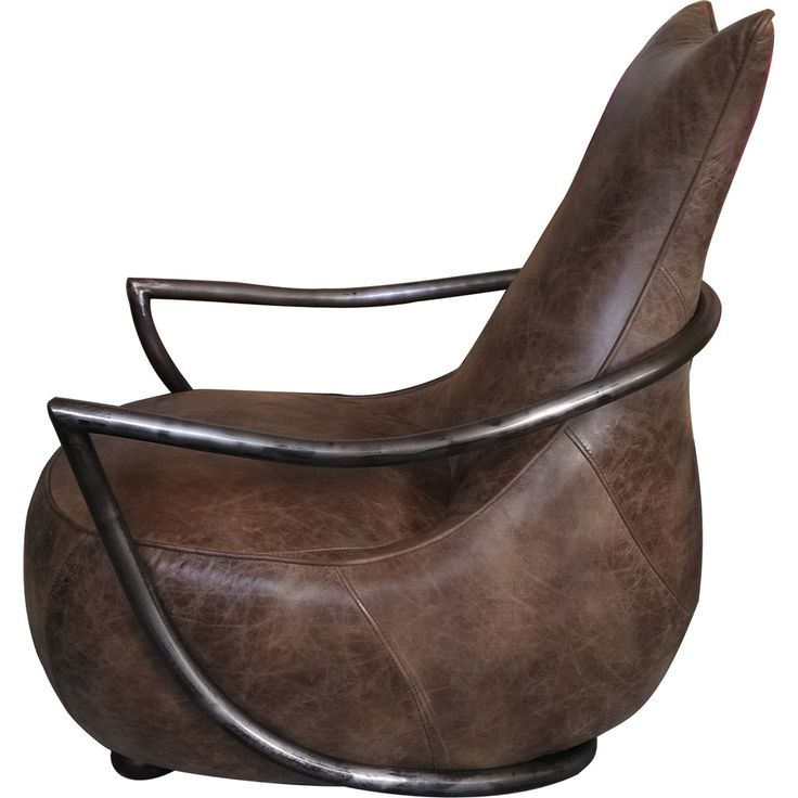 Moe's Home Collection Carlisle Club Chair in Light Brown Distressed Top  Grain Leather on Metal Frame