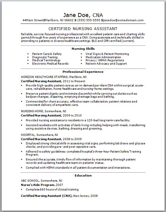 Check out this sample of a CNA resume. Resumes are vital to getting a certified nursing assistant job.